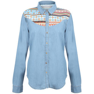 View Item Denim Shirt with Aztec Print Shoulder Detail